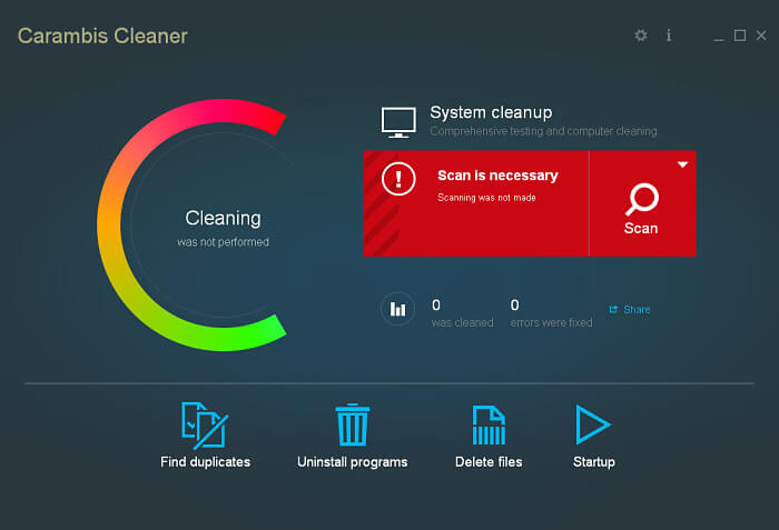 Carambis Cleaner interface