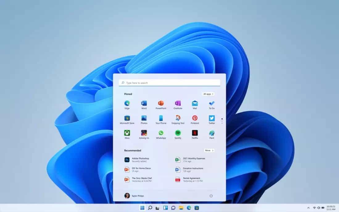 windows 11 desktop & start menu